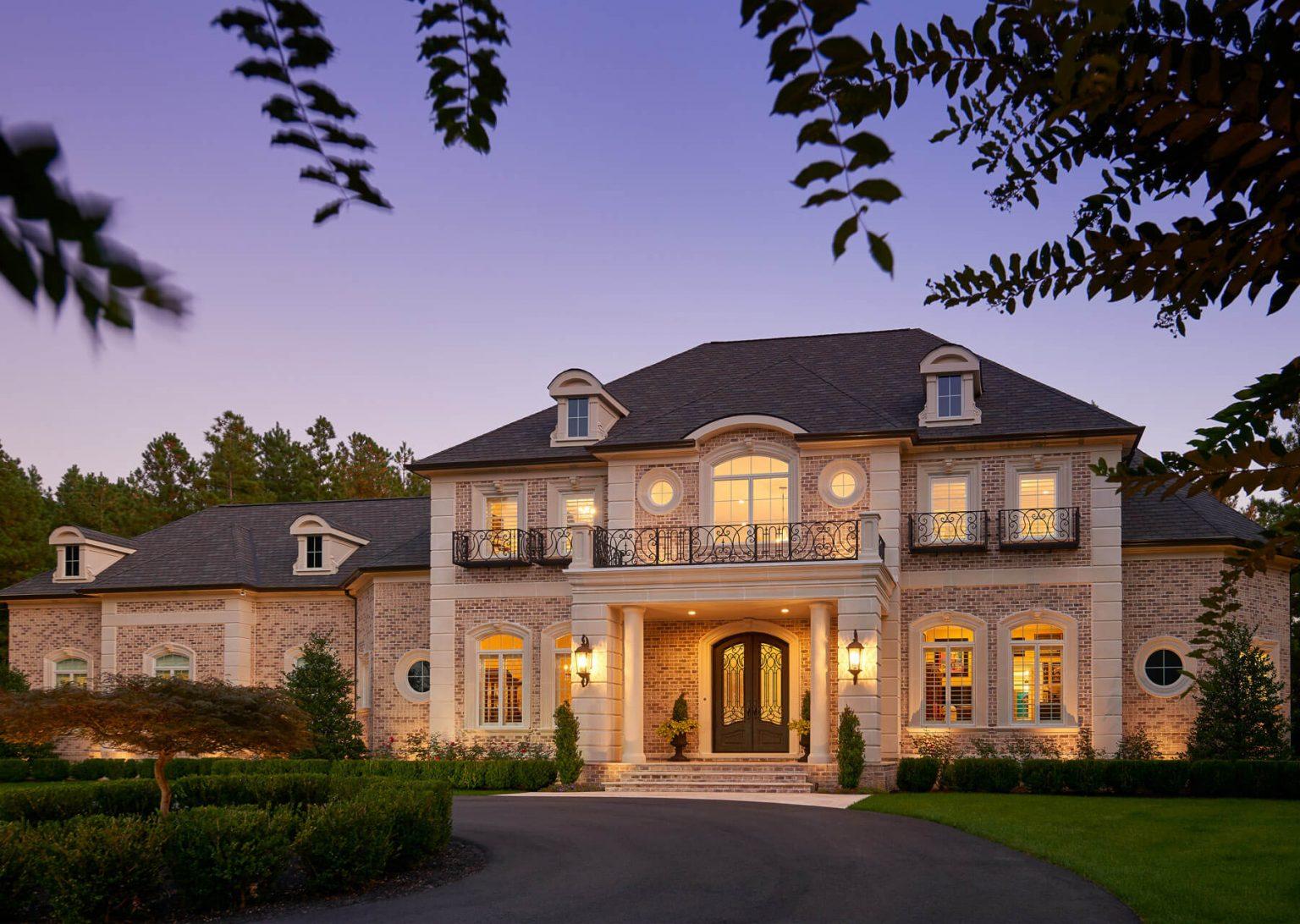 large custom home with balcony